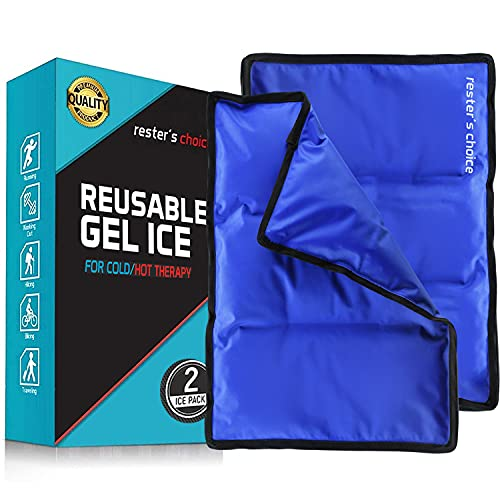 """Rester's Choice Large Ice Pack for Injuries   11"""" x 14.5"""" - Pack of 2   Hot & Cold Pack   Reusable Gel Pack, Durable Construction, & Flexible When Frozen"""