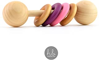 Homi Baby The Modern Color Block Montessori Baby Rattle (Pink and Plum) - BPA & Lead Free Silicone Teether Rings - Hardwood Sealed with Organic Coconut Oil and Beeswax