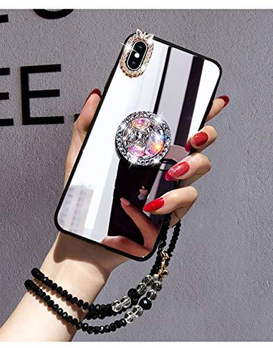 LIUYAWEI Estuche para teléfono para iPhone 11 12 Pro MAX para iPhone 7 8 Plus 6 6S X XR XS MAX SE Clear Mirror DIY Carcasa de Brillo de Diamante Brillante, con Correa A, para iPhone 11