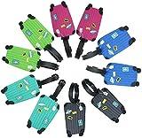 kofferanhänger silikon 10 Pcs Koffer Tags bunt Gepäckanhänger mit Adressschild Silikon Koffergepäckanhänger für Reisender Geschäftsmann und Kinder