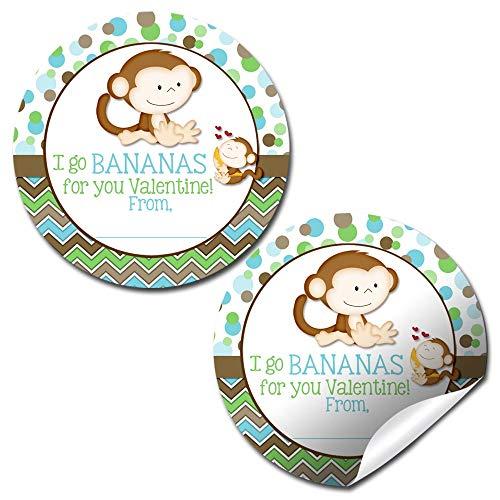 AmandaCreation Bananas For You Aufkleber, Motiv Affe, für Valentinstag, Party, Geschenke, 40 Stück