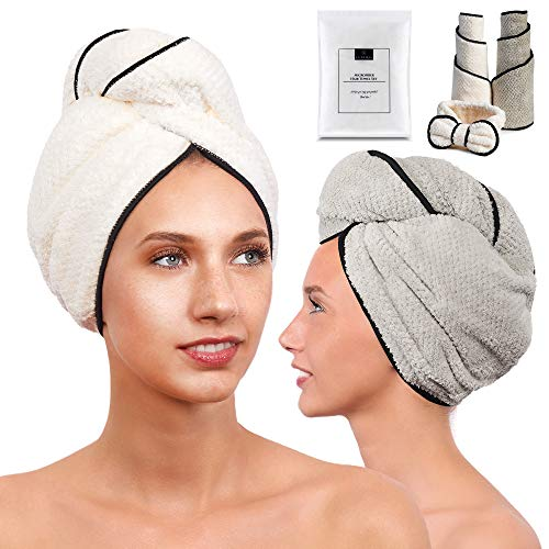 LUXERIS Microfiber Hair Towel for Women - Drying Twist Wrap for Curly, Long, Thin or Short Hair – Ultra Absorbent Anti Frizz Turban for Sleeping and Showering 2 Pack Plus Soft Headband(Ivory/Grey)