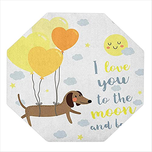 """35"""" Octagon Chair Mat, Dog with Balloons and Concept Hearts Sun Clouds Puppy Best Friends, Chair mats for Carpeted Floors, Yellow Cocoa Blue Grey"""