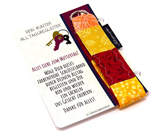 Lieblingsmanufaktur Regalo para el Día de la Madre – Llavero con tarjeta y mensaje para tu madre. Color rojo, naranja y amarillo. Talla única