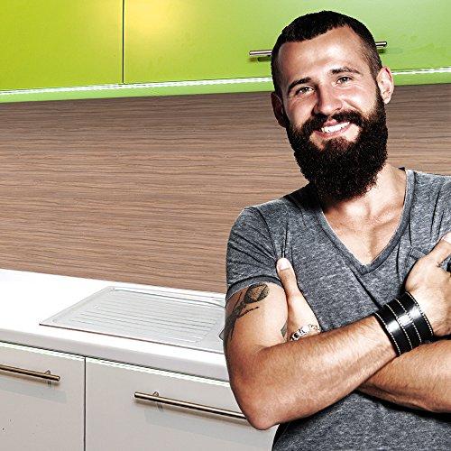 StickerProfis Küchenrückwand Selbstklebend Premium MAKASSAR Holz 60 x 340cm DIY - Do It Yourself PVC Spritzschutz