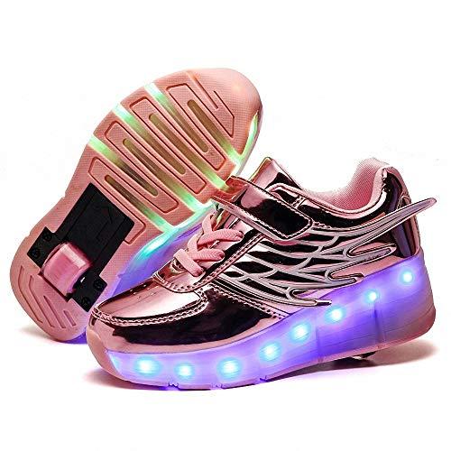 FZ FUTURE Kinder Schuhe mit Rollen, LED Rollschuhe mit Räder, Kinder Leuchtend Rollenschuhe, Flügel-Art Sneaker, 1 Räder für Kinder Mädchen Junge Erwachsene,Rosa,35