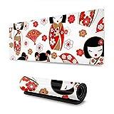 マウスパッド 大型 ゲーミングマウスパッド ひな祭り 人形 赤い 扇子かわいい 防水性 耐久性 滑り止め 低反発キーボードパッド 多機能 超大判 30×80cm おしゃれ