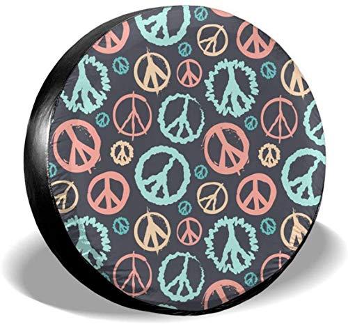 MODORSAN Retro Peace Sign - Cubierta de neumático de Rueda de Repuesto de poliéster, Cubiertas de Rueda universales para Jeep, Remolque, RV, SUV, camión, Accesorios, 16 Pulgadas