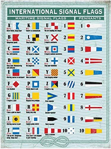 Wandschild aus Metall, Motiv: internationale maritime Flaggen & Wimpel, 20 x 30 cm