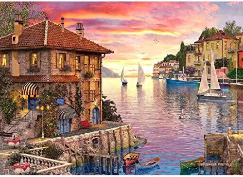 Y&J Puerto Mediterráneo 1000 Piezas De Madera De Rompecabezas De Rompecabezas Casero Jigsaw