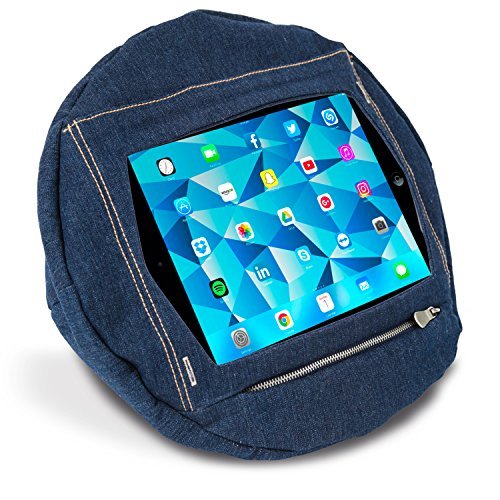 Tabpillö iPad & Tablet Stand/Bean Bag Cushion Holder 'Only Completely Secure' Tablet Cushion for All Devices/Any Angle on Any Surface (9.7 Inch - Ipad, Galaxy Tab, Asus Zen Pad, Kobo, Denim)