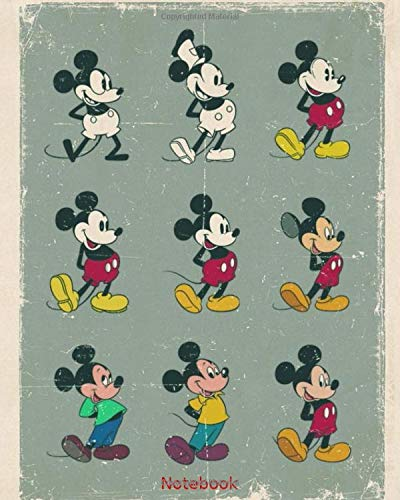 Notebook: The Evolution of Mickey Mouse, Journal, Diary (120 Pages, 8' x 10', checkered), Sketchbook, Creative Gift, Note Taking System for School and ... quality, fairy tale world, mixed art