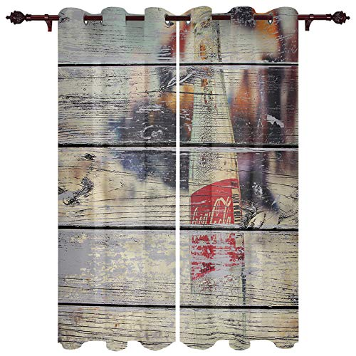 DaringOne 2 Panels Window Curtains Creative Design Grommet Curtains for Living Room/Patio/Drapes, 27.5x39 inch Bedroom Curtain Coke Bottle on Beach Wood Grain