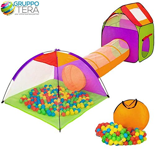 BAKAJI Igloo Tent for Kids with 200 Balls + Tunnel + Casual Playpen with Baby Balls, Folding POP-UP System, Space-saving