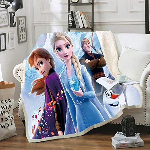NICHIYO Frozen Blanket Cuddly Fleece Blanket Extra Sofa Blanket Warm Soft Couch Blanket Fluffy Blanket Adults Children Microfibre for Bed Bed and Wool Blanket Anime (14.150 x 130 cm)