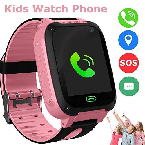 Bambini Smart Watch Phone, GPS Tracker Smart orologio da polso per 3-12 anni Ragazze con SOS Camera Sim Card Slot Touch Screen gioco Smartwatch Giocattoli Regalo per bambini (Rosa)