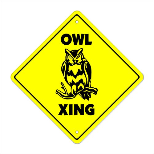 "Owl Crossing Sign Zone Xing | Indoor/Outdoor | 12"" Tall Plastic Sign new owls barn bird birdwatcher birding lover farm"
