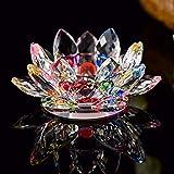 Portavelas feng shui de cristal en forma de flor de loto, con caja de regalo. El adorno perfecto para tu casa o como regalo en Navidad, cumpleaños o bodas., Rainbow