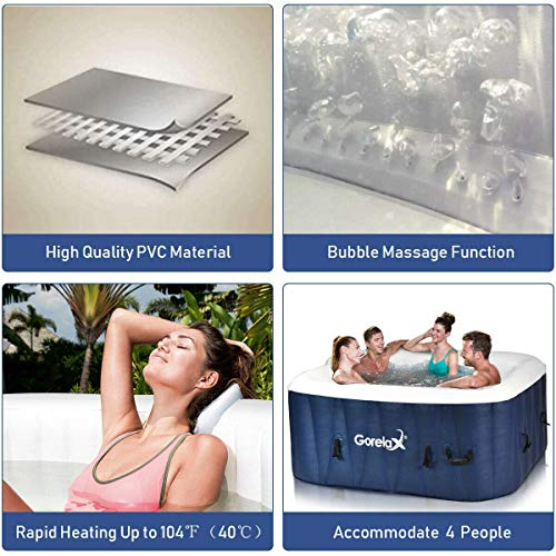 Goplus 4-6 Person Portable Outdoor Spa, Inflatable Hot Tub, Jets Bubble Massage Relaxing Massage Pool with Digital Control Panel, Removable Filter, Heating Function (6-Person)