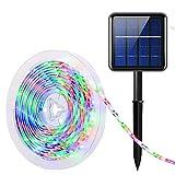 AMIR Solar LED Strip, 3 Meter Solar LED Streifen mit 180 LED, IP65 Wasserdicht Solar Lichterkette Außen, 8 Modi, Automatisch EIN/AUS, Weihnachtsbeleuchtung für Garten, Party und Hochzeit (Mehrfarbig)