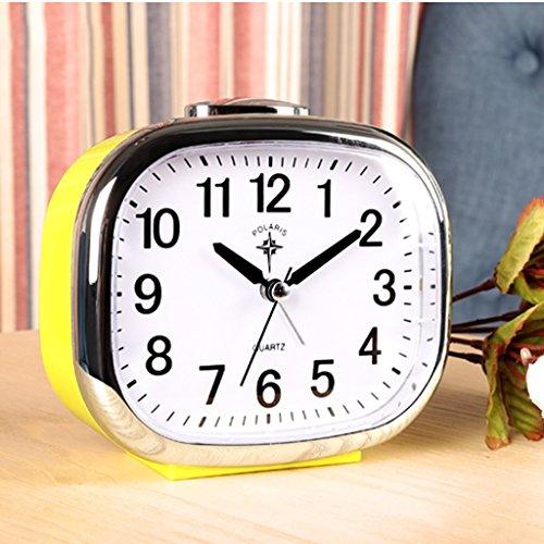 Bonne action réveil Musique Réveil Silence Lumière De Nuit Horloge De Chevet Étudiant Créatif Enfants Lazy Fashion Chambre Alarme Table (Couleur : Le jaune)