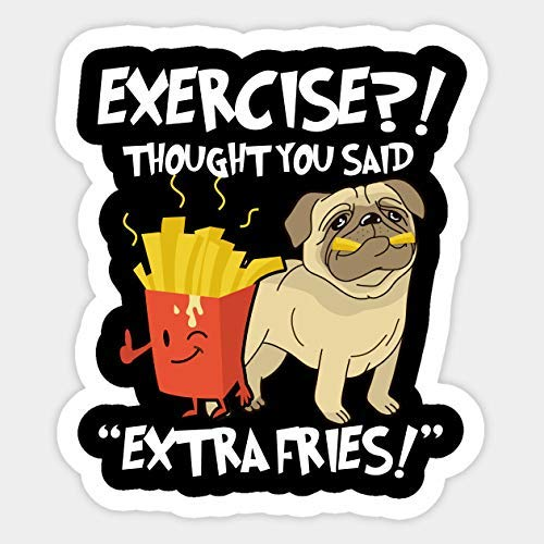 Amazon Com Exercise I Thought You Said Extra Fries Funny Foodie Sticker Vinyl Sticker Handmade