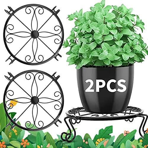 Metal Outdoor Plant Stand, 2PCS Wire Flower Pot Stand for Indoor, Heavy Duty Plants Holder, Black Floor Plant Stands for Corner Patio Garden Balcony, Rustproof