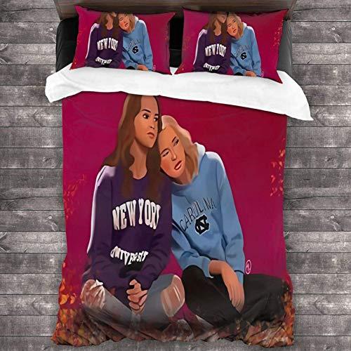 Alexa and Katie Fanart - Juego de cama de 3 piezas (86 x 70 pulgadas, súper suave, cálido, juego de cama Queen con 2 fundas de almohada)