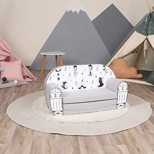Hakuna Matte Divano per bambini Little Explorers – Poltrona per bambini realizzata in 100% cotone – Rivestimento lavabile – Divano per bambini adatto per bambini da 9 a 4 anni