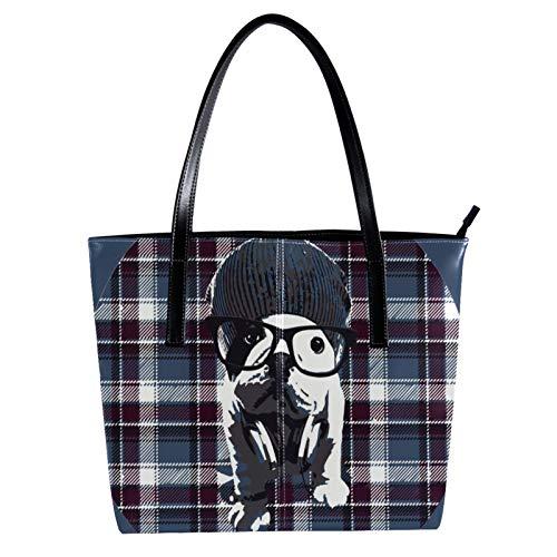LORVIES Hund mit Brille Kariert Schultertasche PU Leder Handtasche Handtasche Damen