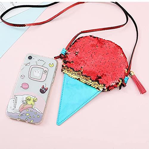 Liadance Muchachas Brillan Lentejuelas Bolso Bolso Multicolor con Correa de Cruzado para niñas Adolescentes niños 6,3'x3.9 Pulgada - Helado