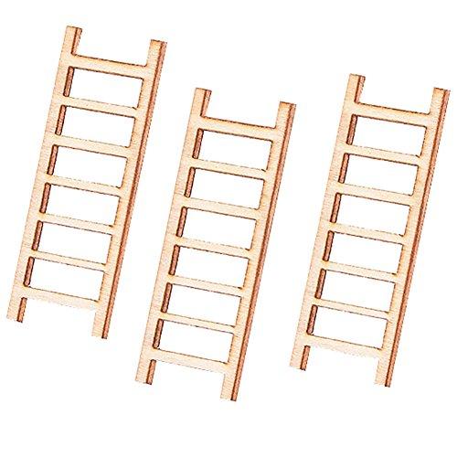 Rycnet - Escalera miniatura de madera para jardín de hadas (3 unidades)