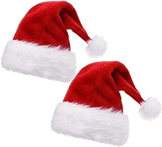 ALIMITOPIA 2pcs Christmas Santa Hat,Double Layer Luxury Plush Christmas Santa Claus Cap Xmas Hat for Adults