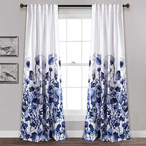 "Lush Decor, Navy Zuri Flora Curtains Room Darkening Window Panel Set for Living, Dining, Bedroom (Pair), 84"" x 52, 84"" x 52"""