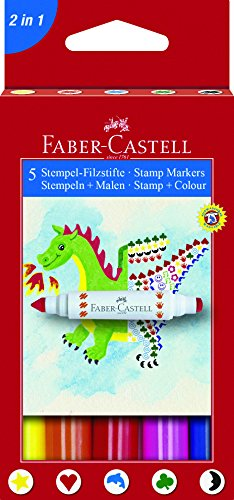 Faber-Castell A.W. 155175 - stempelviltstiften, 5 stuks in etui