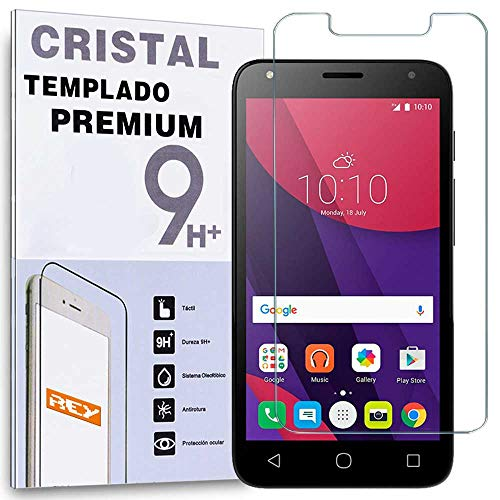 "REY Protector de Pantalla para ALCATEL PIXI 4 4.0"", Cristal Vidrio Templado Premium"