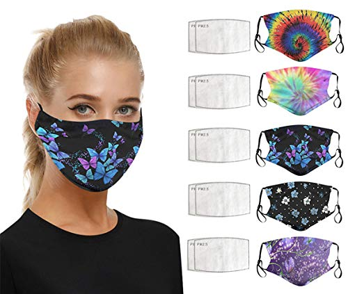 5PC Face Protection + 10PC Filter, A Variety of Fashion Printing, Activated Carbon Highly Purifies The Air, Adult Men and Women, Washable Fabrics, Replaceable and Reusable, Comfortable and Safe