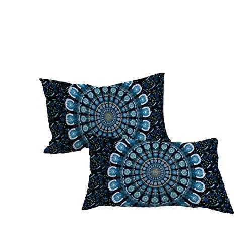 Koongso Boho Mandala - Juego de 2 fundas de almohada, diseño de cachemira floral, diseño indio hippie