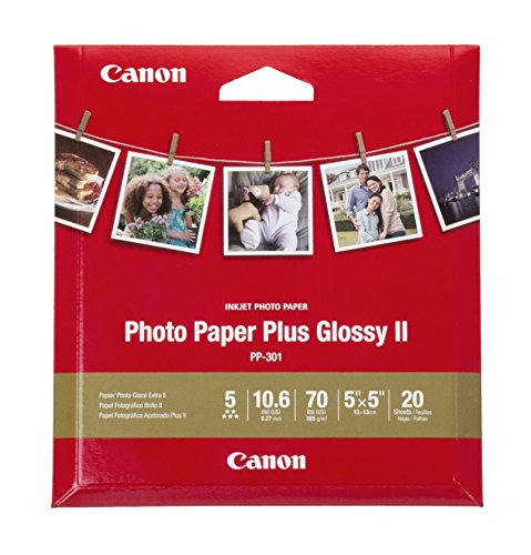 Canon Glossy Photo Paper Plus II,5'x5'(20 Sheets), PP-301