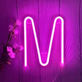 ENUOLI Pink Neon Letter Sign Neon Words Battery/USB Powered LED Alphabet Neon Art Lights Wall Decor Light up Words for Wedding Birthday Party Christmas Home Bar Decoration (M)