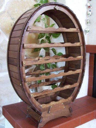 DanDiBo Weinregal aus Holz für 24 Flaschen Weinfass Braun gebeizt Bar Flaschenständer Fass Regal - 7