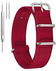 Correa de Reloj de Nylon NATO 12mm 14mm 16mm 18mm 22mm 24mm Correa de Reloj de Nylon Negro Verde Militar Caqui Azul Rojo Beige Naranja Colorido Correa de Reloj de Nylon de una Pieza NATO