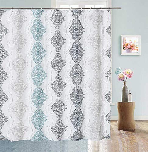 DOSLY IDÉES White Ruffle Shower Curtain Bohemian Damask Pattern Modern Cute Waterproof Fabric,72x72,Navy,Aqua,Gray and Taupe