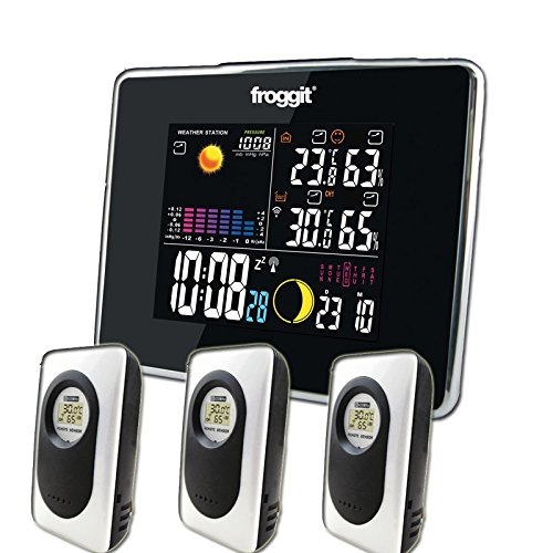 froggit Funk Farb Wetterstation WS50 inkl. 3 Funk Thermo-Hygrometer Außensensor, Wettervorhersage, Funkuhr, Temperatur, Luftfeuchte