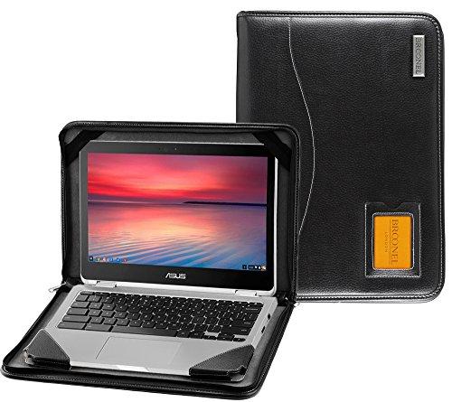 Broonel - Contour Series - Cuir végétalien Noir Housse de protection compatible avec Asus Chromebook Flip C302CA
