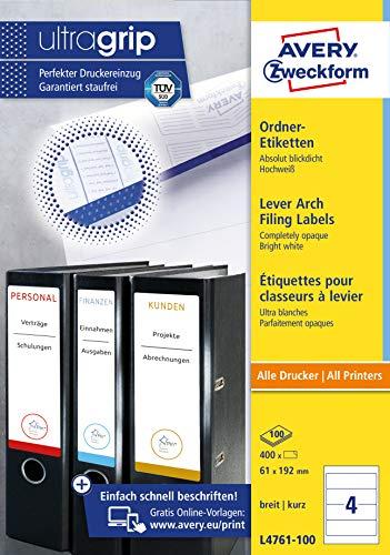 Avery Zweckform L4761-100 Ordnerrücken Etiketten (A4, 400 Rückenschilder, breit/kurz, selbstklebend, blickdicht, 61 x 192 mm) 100 Blatt weiß - 8