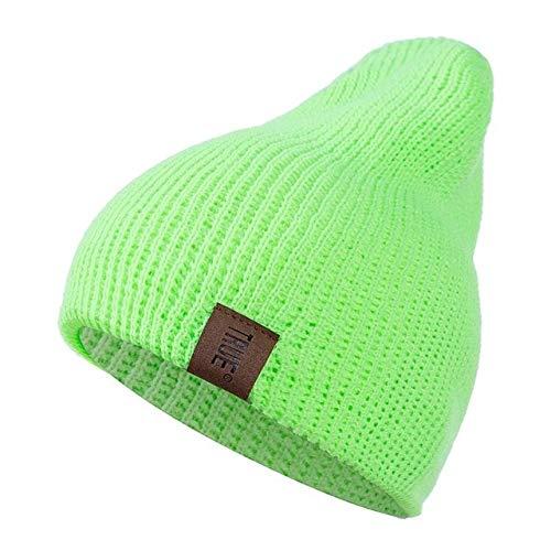 1 Uds.Gorro con Letras Casuales para Hombres y Mujeres, Gorro de Invierno de Punto cálido, Gorro Unisex de Hip Hop sólido a la Moda-Fluorescent Green-54cm-60cm