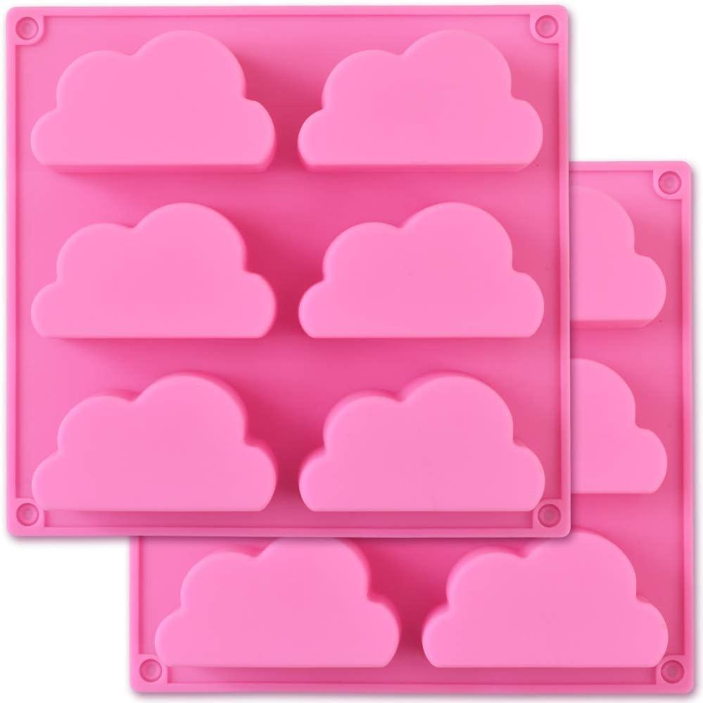 Cozihom Molde de silicona para nube, molde de silicona para jabón, molde multifunción para hacer pudín de jabón, gelatina y chocolate, 2 piezas