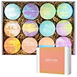 Bubbly Belle Bath Bombs Gift Set 12 Extra Large 5oz Fizzies with Pure Essential Oils, Coconut Oil, Epsom Salt, and Kaolin Clay, Kid Safe, Best Birthday Gift for Women, Mother, Christmas