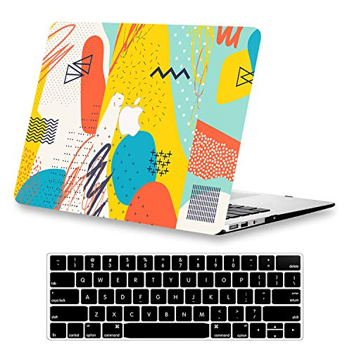 KEROM MacBook Pro 13 inch Case 2015 2014 2013 2012 Release A1425/A1502, Hard Plastic Shell Case with Keyboard Cover, Slim Pattern Protective Case for Old Version MacBook Pro Retina 13, Graffiti
